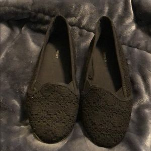 Black Crochet Flats
